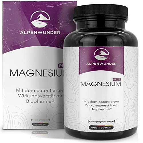 Alpine wonder Magnesium high-dose capsules, 100% MADE IN GERMANY, 365 high-quality magnesium capsules, 100% vegan, manufactured in accordance with DIN EN ISO 9001