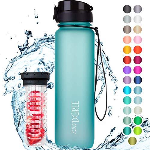 """720°DGREE Trinkflasche """"uberBottle"""" +Früchtebehälter - 1L - BPA-Frei - Wasserflasche für Uni, Sport, Fitness, Fahrrad, Outdoor - Sportflasche aus Tritan -..."""