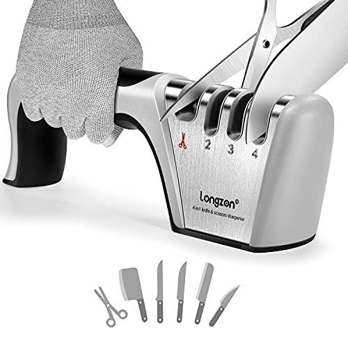 longzon Messerschärfer, 4 Stufen Manuelle Messerschleifer mit Anti-Schneidhandschuhe für Grobschärfen und Scheren Schleifen, Diamant für Feinschärfen und...