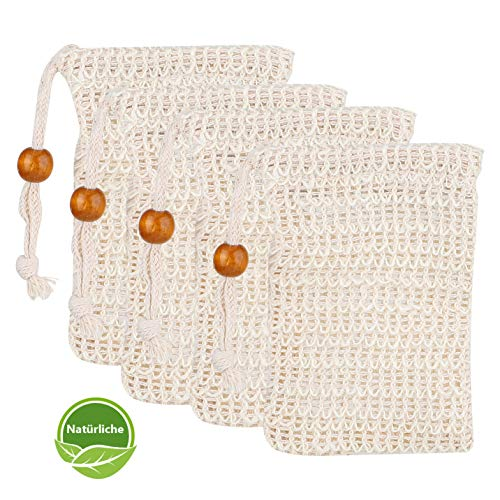 Seifensäckchen Bio, Hotchy 4x Seifenbeutel 100% Vegan Sisal Seifensäckchen Naturprodukt Seifentasche, Aufschäumen und Trocknen der Seife, Peeling, Massage
