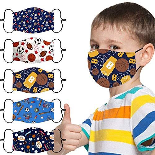 Sumeiwilly 5 Stück Mundschutz Kinder Multifunktionstuch 3D Cartoon Druck Maske Animal Print Atmungsaktive Baumwolle Stoffmaske Waschbar Mund-Nasenschutz Bandana...