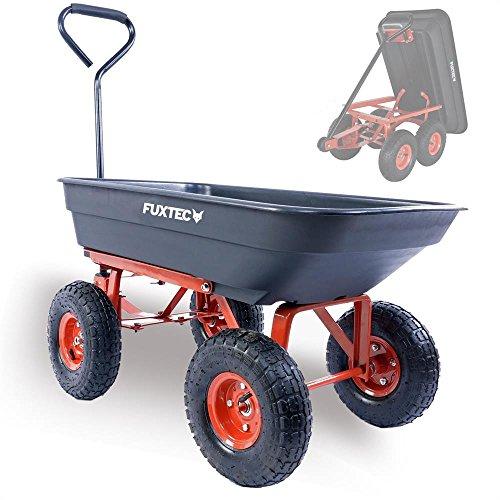 Fuxtec Kippwagen FX-KW2175 bis zu maximal 300kg Zuladung - max 150 kg bei gekippter Funktion, Transportwagen mit geschlossener Ladefläche ideal als Gartenkarre für...