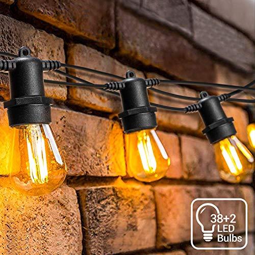 39 Meter LED Lichterkette Außen,[Neue Version]OxyLED S14 Lichterkette Glühbirne LED Retro, IP65 Wasserdicht,40X1W LED Birnen Warmweiß 2500K Beleuchtung für Innen...