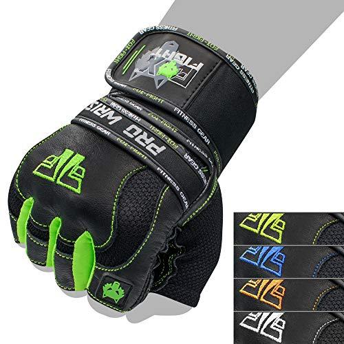 FOX-FIGHT PRO Wrist Green Fitness Kraftsport Leder Trainings Handschuhe Trainingshandschuhe Handgelenkbandage Kraftsporthandschuhe Krafttraining Gewichtheben...