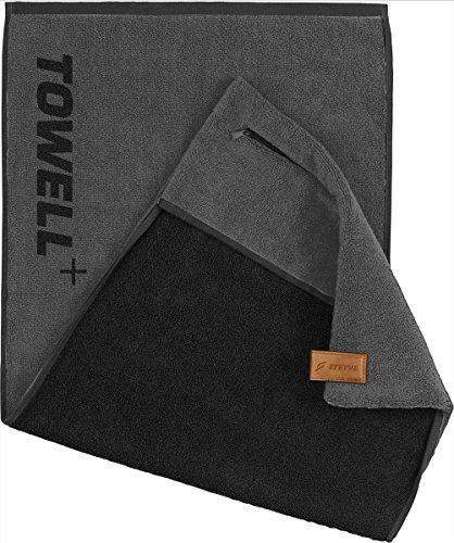 STRYVE Towell Plus V2 Sporthandtuch mit Tasche und Magnetclip, in 7 Farben Die Höhle der Löwen (Platinum Grau) Gym Handtuch TOWELL+
