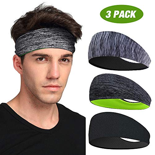 Sport Headband 3 Pack, LATTCURE Men's Headband, Sweatband, Headband Anti-Slip, for Jogging, Running, Hiking, Biking and Motorcycling