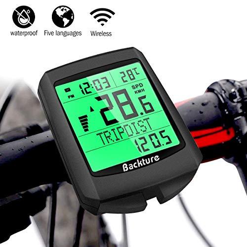 BACKTURE bike computer, 19 multifunction wireless waterproof bike speedometer odometer auto wake up LCD backlight 5 language for ...