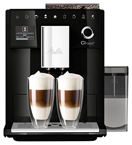 Melitta CI Touch F630-102 Kaffeevollautomat mit Milchbehälter | Flüsterleises Mahlwerk | One Touch Funktion | 10 Kaffeevariationen | TFT-Farbdisplay | Schwarz