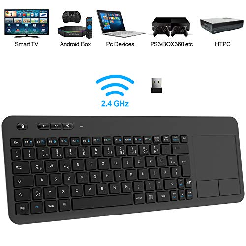 TedGem Wireless Tastatur, Touch Tastatur 2.4G USB Tastatur Wireless Keyboard PC Tastatur USB mit Nano USB Receiver für Laptop/Mac/PC/Android TV (Deutsches...