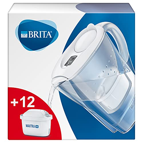 BRITA Wasserfilter Marella weiß inkl. 12 MAXTRA+ Filterkartuschen – BRITA Filter Starterpaket zur Reduzierung von Kalk, Chlor, Blei, Kupfer & geschmacksstörenden...