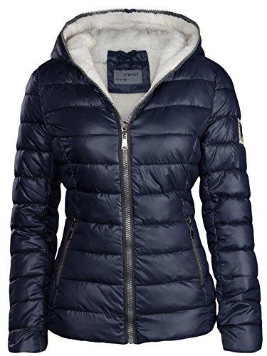 S'West Damen Winter Jacke GEFÜTTERT KURZ STEPP DAUNEN Optik Kapuze Skijacke WARM New, Farbe:Dunkelblau, Größe:XL