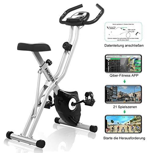 ANCHEER F-Bike, Klappbar Heimtrainer mit APP-Simulationsspiel, Fitness Fahrrad mit 10 Widerstandsstufen, Fitnessbikes mit Handpulssensoren für Zuhause Büro...