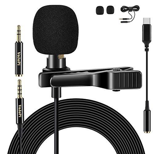 VoJoPi Lavalier Mikrofon, Omnidirectional Kondensator Ansteckmikrofon mit Adapter Typ C und 2M Verlängerungskabel, 3.5mm Handy Lapel Mic für PC, Smartphone,...
