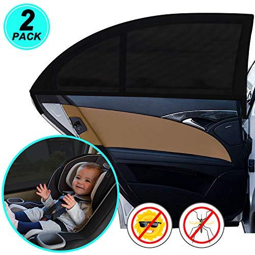 WIN.MAX Sonnenschutz Auto,Sonnenschutz Auto Baby mit Zertifiziertem UV Schutz,Universal Sonnenblende Auto Netz,für Seitenfenster Meshmaterial Schützt Mitfahrer,...