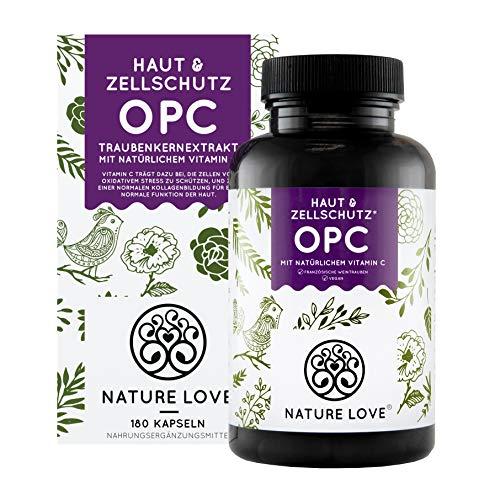 NATURE LOVE® OPC rypäleensiemenuute - ranskalaisista rypäleistä JA uutteesta Ranskassa - 800 mg uutetta päivittäistä annosta kohti - laboratoriotestattu, vegaani, Saksassa ...