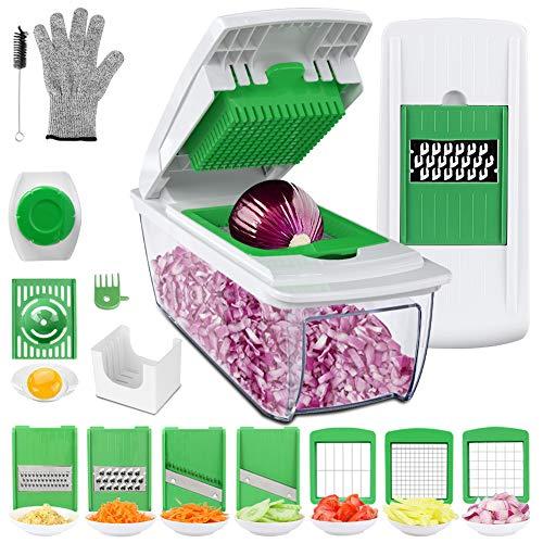Uvistare Gemüseschneider Obstschneider kartoffelschneider, Mutischneider Gemüsehobel mit Messereinsätzen Handschuh zum Würfeln/Scheiben/Reiben/Hobeln/Raspeln und...