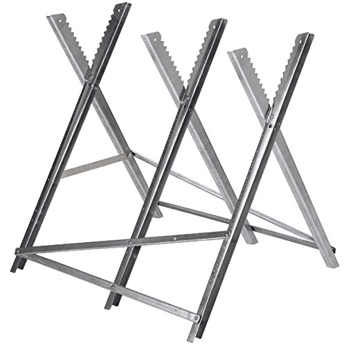 Original Einhell chain sawhorse (max. 150 kg, galvanized angle profiles made of metal, additional cross struts, teeth prevent the wood from twisting, 3 working heights, ...