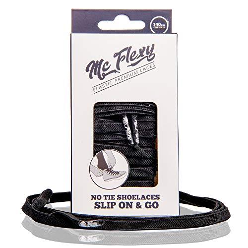 Mc Flexy Flache Elastische Schnürsenkel – Einmal Binden und Jeder Schuh wird zum Slipper (Schwarz, 100cm)