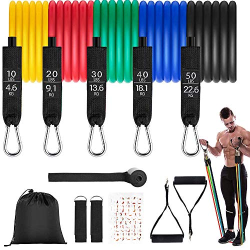 Sporgo Resistance Bands, 11 pack fitness band resistance band set, exercise band set with expander, handles, door anchors, foot straps, carrying bag for ...