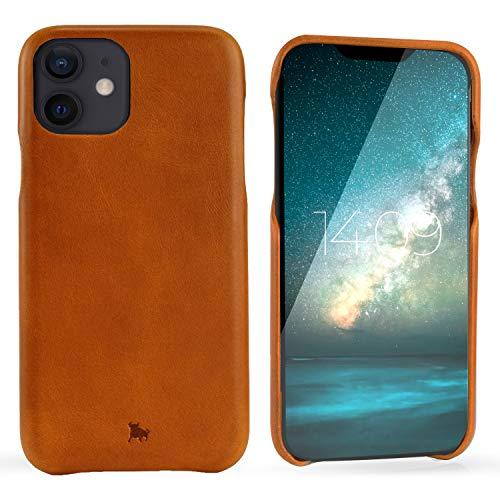 "BULLAZO Menor Classic – kompatibel mit iPhone 12 iPhone 12 Pro Case Handy Hülle aus hochwertigem Leder 6,1"" Cognac"