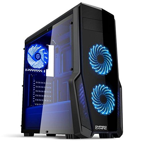 EMPIRE GAMING - PC-Gehäuse Gaming Warfare Schwarz LED-Leuchte Blau: USB 3.0, 3 Lüfter LED-Leuchte 120 mm, Seitenwand Transparent/Schwarz- ATX/mATX/mITX