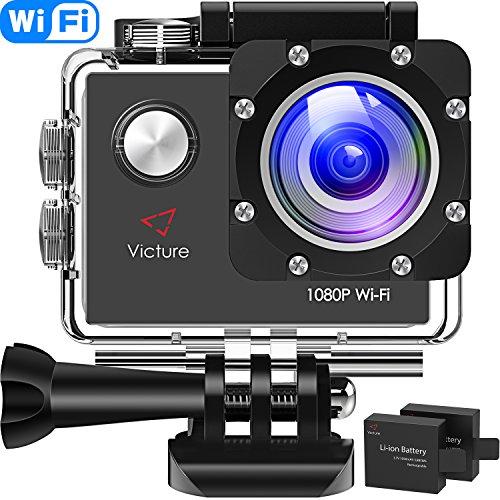 Victure AC400 Action Cam WI-Fi Full HD 1080P wasserdichte Sport Action Kamera 30M Unterwasserkamera mit 2 Zoll LCD-Bildschirm 170 Weitwinkel-Objektiv 2 Akkus und...