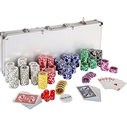 Ultimate Pokerset mit 500 hochwertigen 12 Gramm METALLKERN Laserchips, inkl. 2x Pokerdecks, Alu Pokerkoffer, 5x Würfel, 1x Dealer Button, Poker, Set, Pokerchips,...