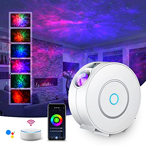 LED Alexa Sternenhimmel Projektor,SUPPOU Smart Nachtlicht 3D Galaxy Sternenprojektor Lampe Kinder Erwachsense mit RGB Dimming/Stimmenkontrolle/WiFi...