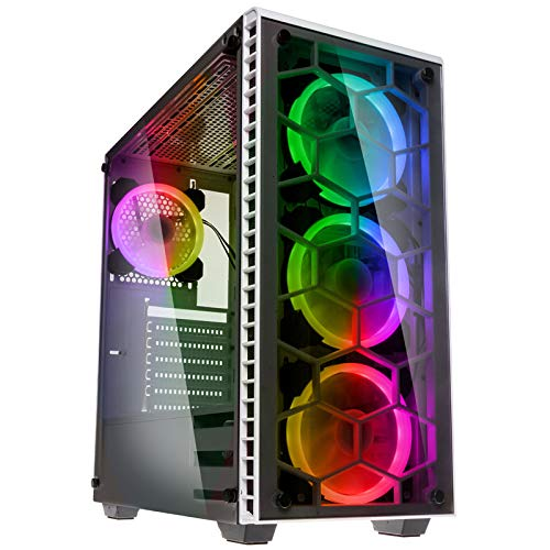 KOLINK - Observatory RGB Midi-Tower - Computergehäuse, PC Hülle, ATX Gehäuse, Tempered Glass Gaming PC Case, Dezentes Design Computer Gehäuse, Weiß