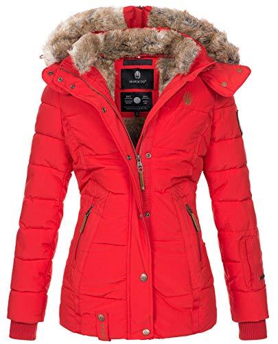 Marikoo warme Damen Winter Jacke Winterjacke Steppjacke gefüttert Kunstfell B658 [B658-Nek-Rot-Gr.M]