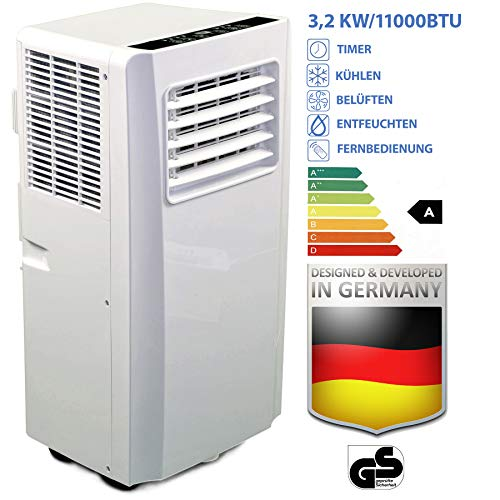 JUNG AIR TV05 mobile air conditioner with remote control + exhaust hose - 3,2 KW / 11000 BTU - POWER-SAVING, LOW-NOISE -100m³ room cooling, mobile air conditioning, ...
