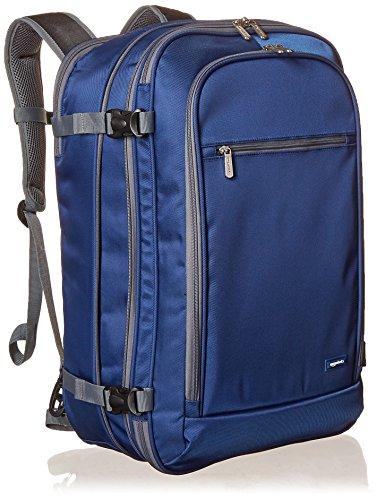AmazonBasics Handgepäck Reiserucksack, mit Tragegriff und Schultergurt, 25+10L, 1,7kg Eigengewicht, Marineblau