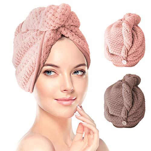 RenFox Haarturban, 2 Stück Turban Handtuch mit Knopf, Microfaser Handtuch für die Haare Schnelltrocknend, Haartrockentuch Saugfähig Super Absorbent, Haar...