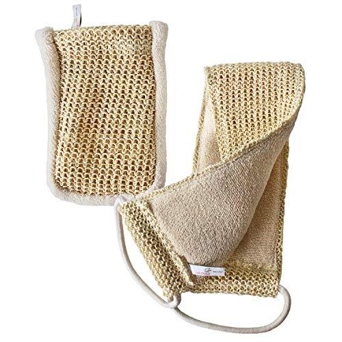 Sisal Set in Bio-Qualität. Massagegurt & Peelinghandschuh. Für Nassmassagen & Trockenmassagen geeignet. Peeling mit Rückenschrubber & Massagehandschuh. Bio-Sisal...