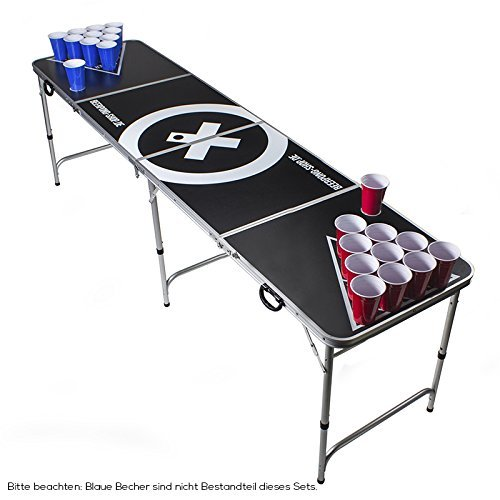 Beer Pong Tisch Set - Audio Table Design - Beer Pong Table inkl. 50 Red Cups, Ballhalter, 6 Bälle und 2 Gratis Bier Pong Racks