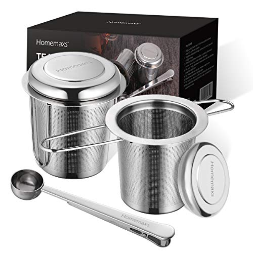 Homemaxs Teesieb Teefilter für losen Tee, 2 Stück 304 Edelstahl Tee Sieb inklusive Deckel/Abtropfschale und 1 Löffel, Premium Teesieben mit Faltbare...