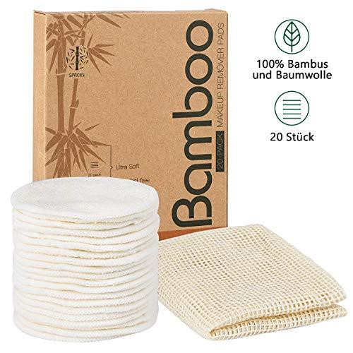 SPACES Waschbare Abschminkpads| 20 Stück Wiederverwendbare Wattepads aus Bambus und Baumwolle | Umweltfreundlich |Weich & Schonend Abschminktücher | INKL....
