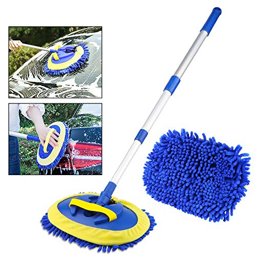 Nakeey Car Wash Brush Telescopic Window Cleaner Auto, 180 ° Swivel Head Chenille Microfiber Removable Handle with Aluminum Long Handle Window Wiper for Windows ...