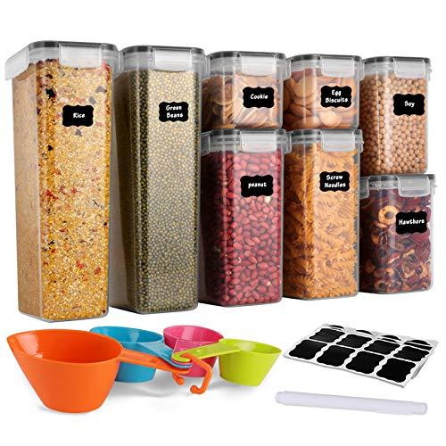GoMaihe Vorratsdosen 8 Set, Aufbewahrungsbox Küche Luftdicht Behälter aus Plastik Mit Deckel, Vorratsgläser zur Aufbewahrung von Nudeln, Müsli, Reis, Mehl, und...