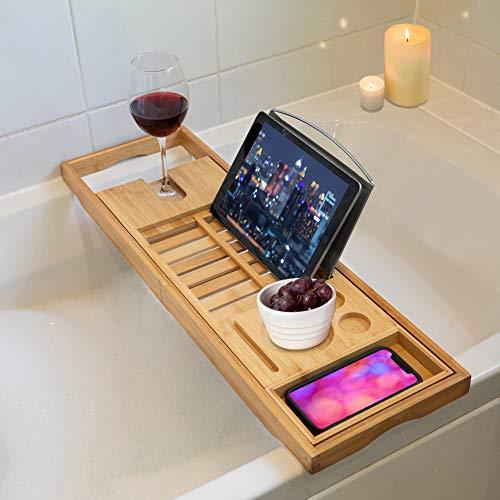 TRIXES premium bambu-kylpyammeen hyllykylpy-caddy - laajennettava ylellinen kodin rentoutumis-kylpyläelämys kylpyammeille, joissa on kynttilänjalka ...