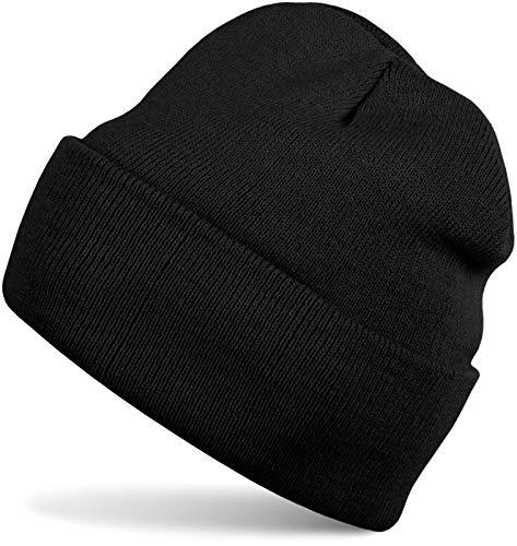 styleBREAKER Unisex warme Beanie Strickmütze, Feinstrick Mütze doppelt gestrickt, Winter 04024029, Farbe:Schwarz