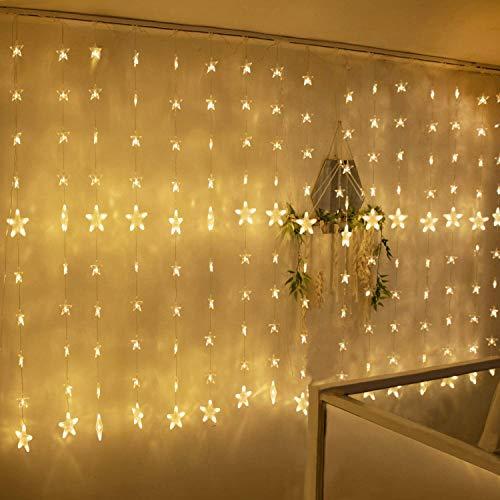 Led Lichterketten, 80 Sterne 144 Leds 2mx1.5m Anschließbar Sternenvorhang mit 8 Modi Fernbedienung fensterlichterketten weihnachten Weihnachtsbeleuchtung für...