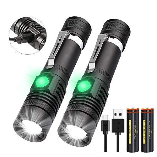 Taschenlampe LED USB Aufladbar, (Inklusive 2 stück 18650 Akku) Mini Taschenlampen, Banral Extrem Hell Einstellbarer Fokus Wasserdicht Taktische Taschenlampe mit 4...