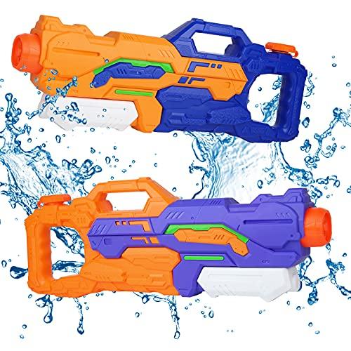 infinitoo Wasserpistole 2 Stück 1500ml 4 Modus Düsen Spritzpistole Water Gun, 8-12 Meter Reichweite Blaster Spielzeug für Kinder, Erwachsene Party Garten Strand...