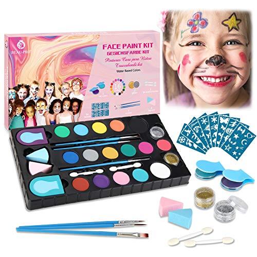 Kinderschminke Set, 16 Professionelle Face paint Schminkfarben Größere Kapazität, 64 Schablonen und 5 Pinsel,2 puff,2 Glitzer,2 Haarkreideklammern...