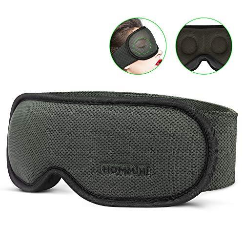 HOMMINI-nukkumamaski miehille ja naisille, premium 3D -näkymäyön naamio, 100% aurinkovoide, erittäin pehmeä ja mukava, silmänaamari matkoille, vuorotyölle ja ...