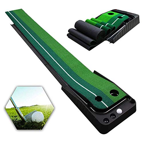 Qdreclod Golfmatte Puttingmatte Golf Indoor Büro Outdoor für zu Hause Büro Golf Übungsmatte Golf Puttingmatten Golf Putting Trainer Matte mit Auto Ball Return...