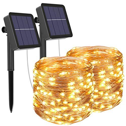 [2 pieces] Solar light chain outside, Litogo 12M 120 LED light chain outside waterproof copper wire 8 mode solar light chain decoration for garden, balcony, terrace, ...