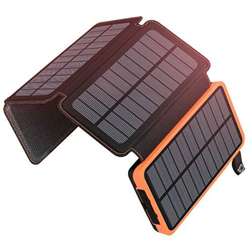 A ADDTOP Solar Powerbank 25000mAh Tragbare Solar Ladegerät mit 4 Solarpanels, Outdoor wasserfester externer Akku mit 2 USB Ports für Smartphones, Tablets und mehr