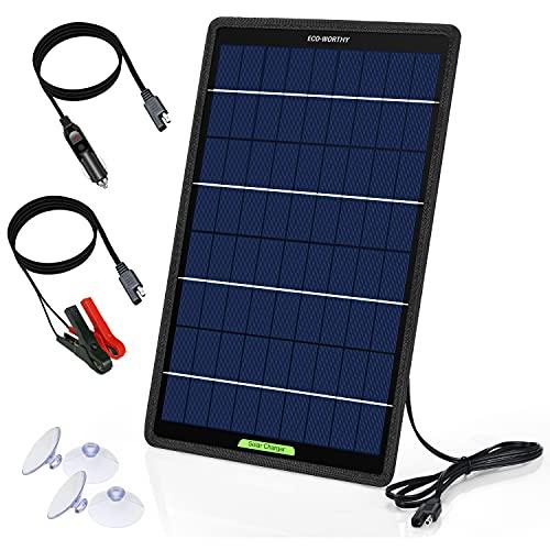 ECO-WORTHY 12 Volt 10 Watt Solar Autobatterie Ladegerät, Solarmodul Erhaltungsladung, tragbares Solarpanel Notstromversorgung mit Krokodilklemmen Adapter für Auto,...